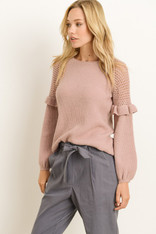 Mauve Ruffle Sleeve Sweater