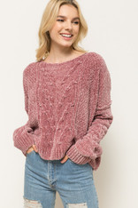 Mauve Chenille Drop Shoulder Sweater