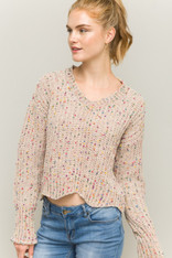 Taupe Chenille Sweater with Colorful Dots