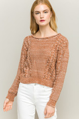 Burnt Orange and White Knit Boat Neck Sweater