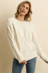 Cream Chenille Cable Knit Sweater