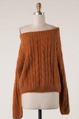 Burnt Orange Off The Shoulder Sweater