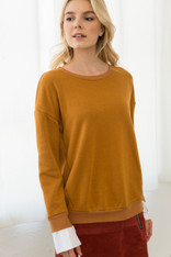 Burnt Orange Fleece Lined Sweater with White Sleeve