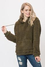 Olive Sherpa Pullover Front Pocket