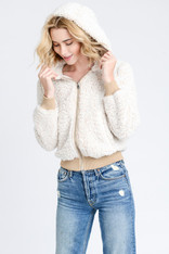 Oatmeal Sherpa Hooded Jacket