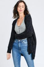 Black Chenille Open Sweater