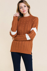 Burnt Orange Cable Knit Sweater White Stripes