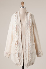 Ivory Braided Open Cardigan