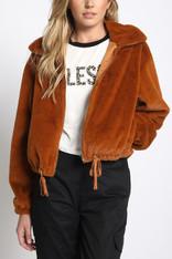 Burnt Orange Faux Fur Drawstring Jacket