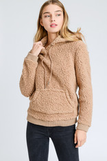 Camel Sherpa Hooded Pullover