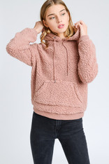 Mauve Sherpa Hooded Pullover