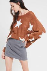 Burnt Orange Sweater White Stars