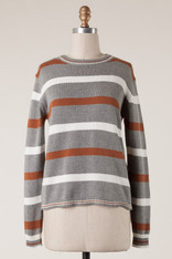 Grey Sweater with Burnt Orange and White Stripes