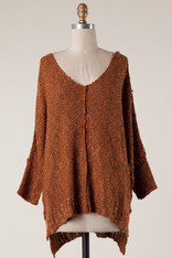 Burnt Orange Two Tone V-Neck Sweater