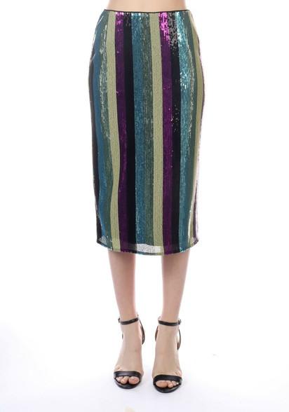 striped sequin midi skirt