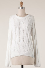 Ivory Round Neck Cable Knit Sweater