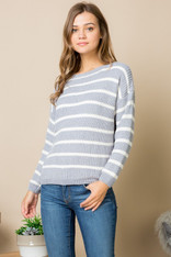 Light Blue and White Stripe Chenille Sweater