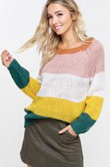 Multi Color Block Stripe Sweater