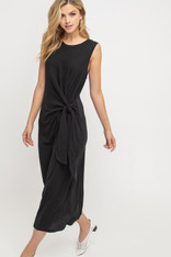black cotton midi dress side tie
