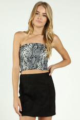 Smocked Snakeskin Print Top