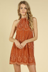 Burnt Orange Lace Embroidered Dress