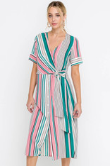 Pink and Green Stripe Midi Dress