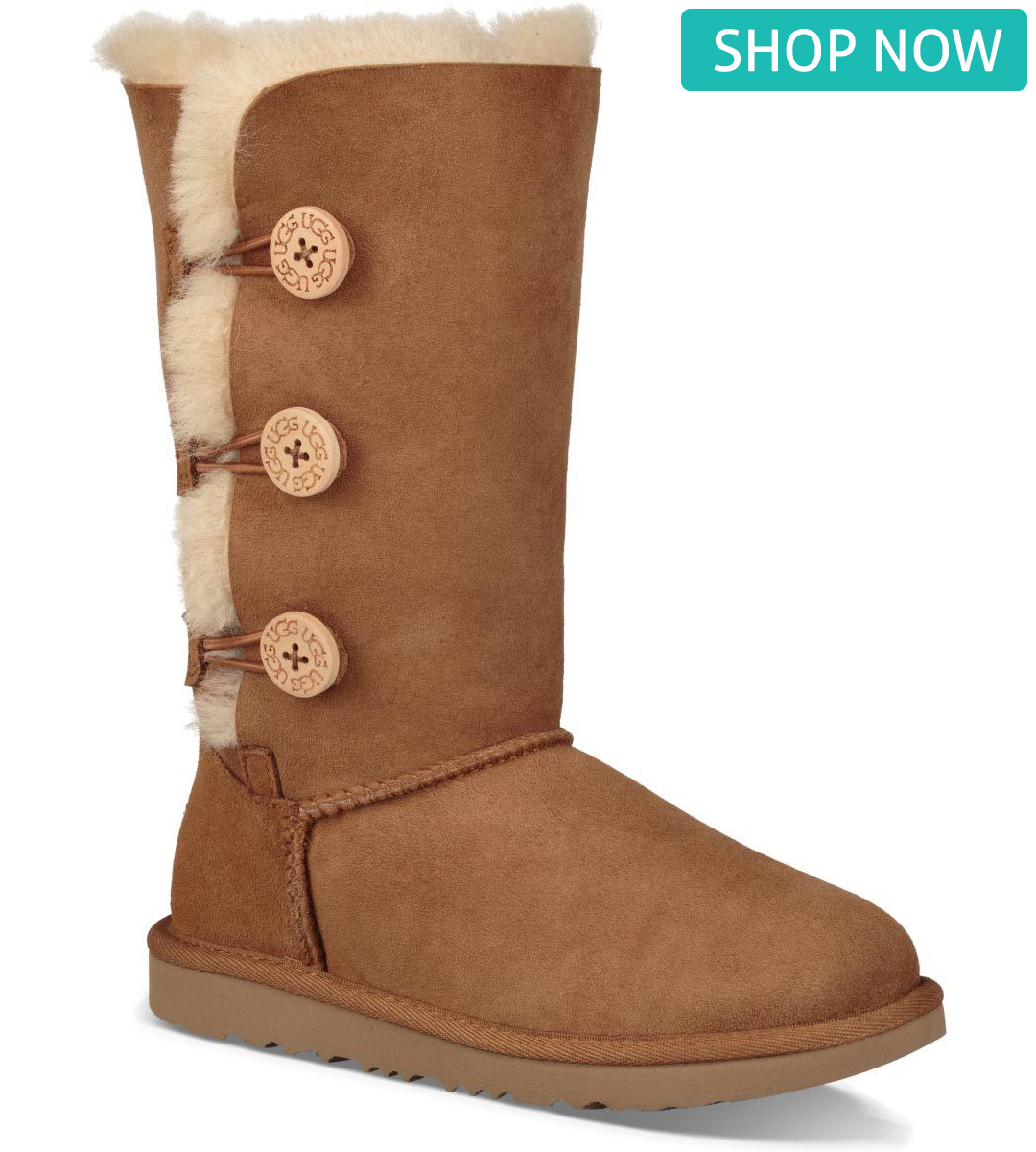UGG Kids Bailey Button Triplet II in Chestnut