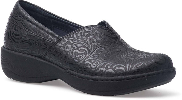 Black Floral Embossed Leather