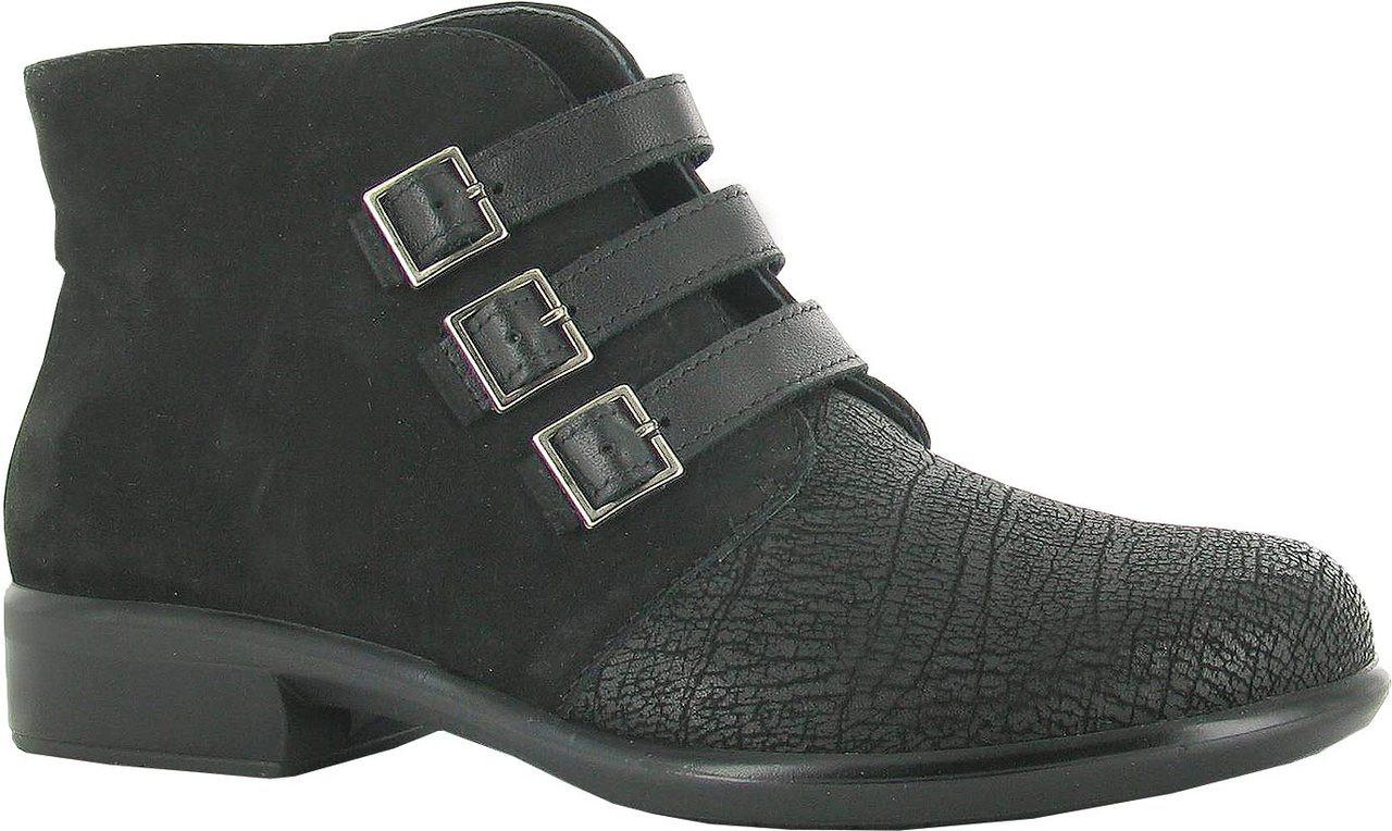 Black Crackle Leather/Velvet Nubuck/Raven
