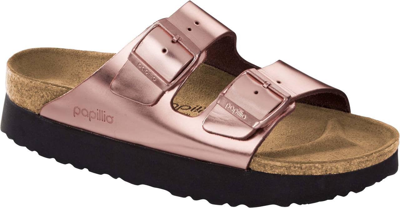 09ceb706b ... Sandals; Birkenstock Women's Papillio Arizona Platform. Metallic Copper  Leather