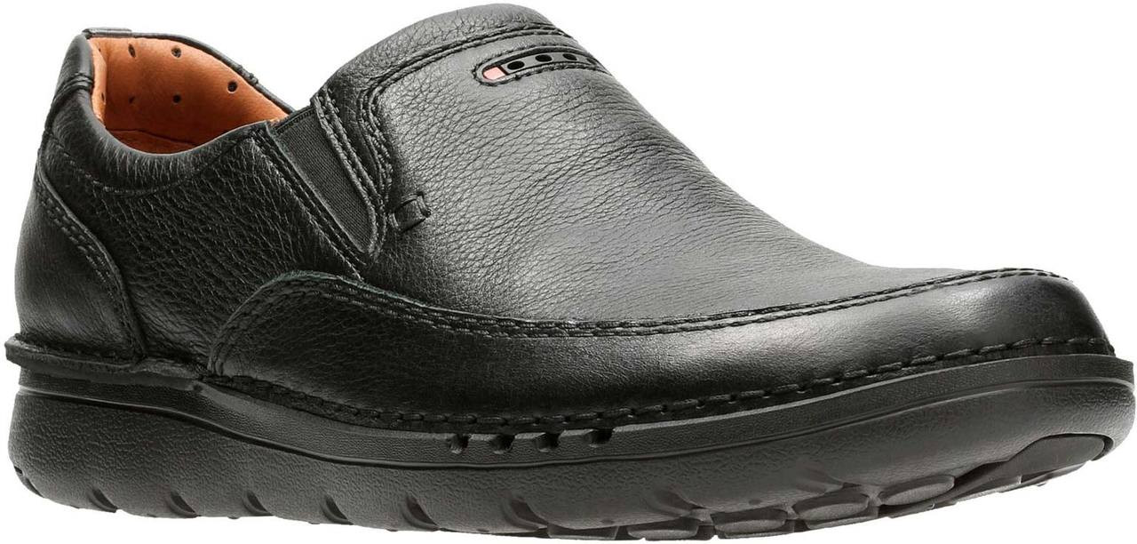 Clarks Men/'s Unstructured Unnature Easy Black Tumbled Leather Slip On Shoe