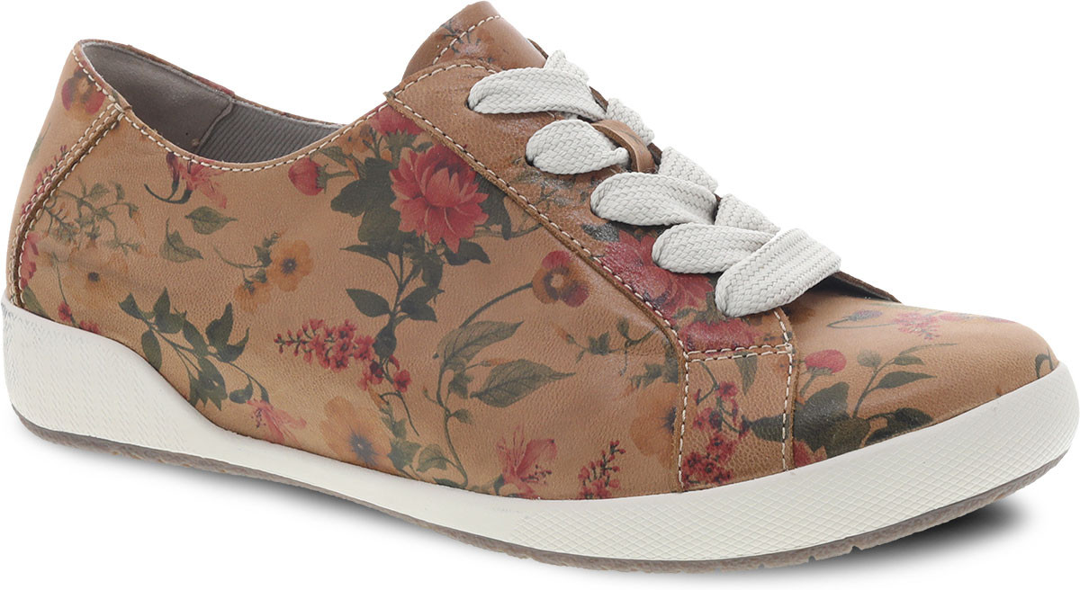 Tan Floral Leather