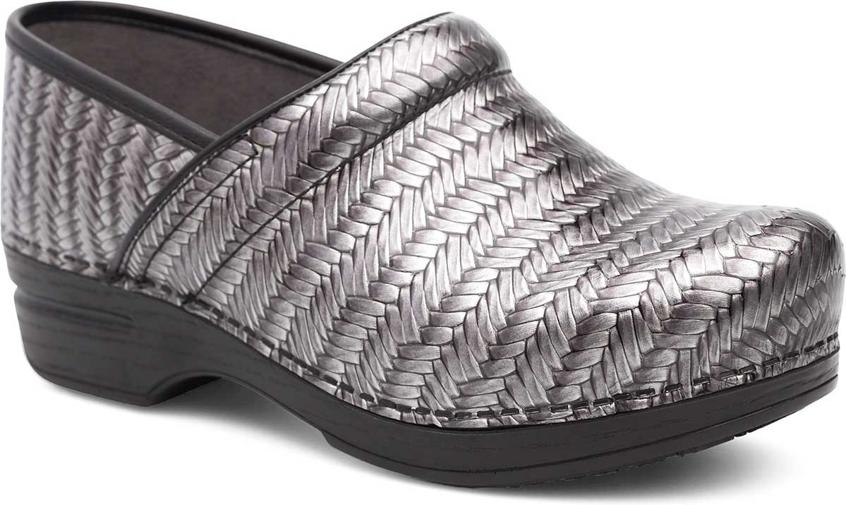 Grey Herringbone Patent Leather
