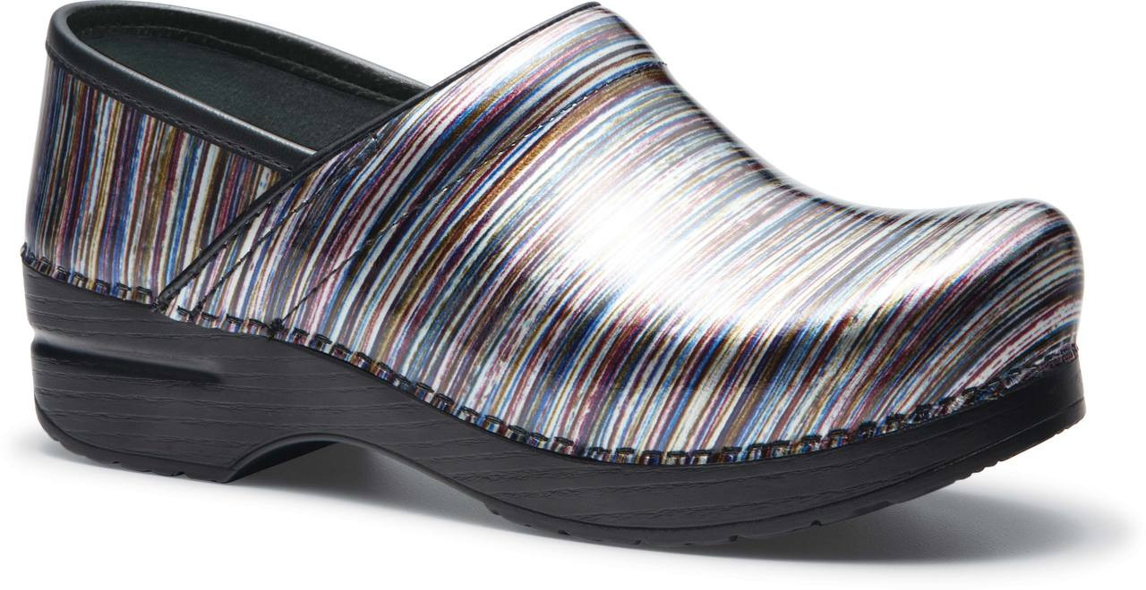 Grey Striped Patent Leather
