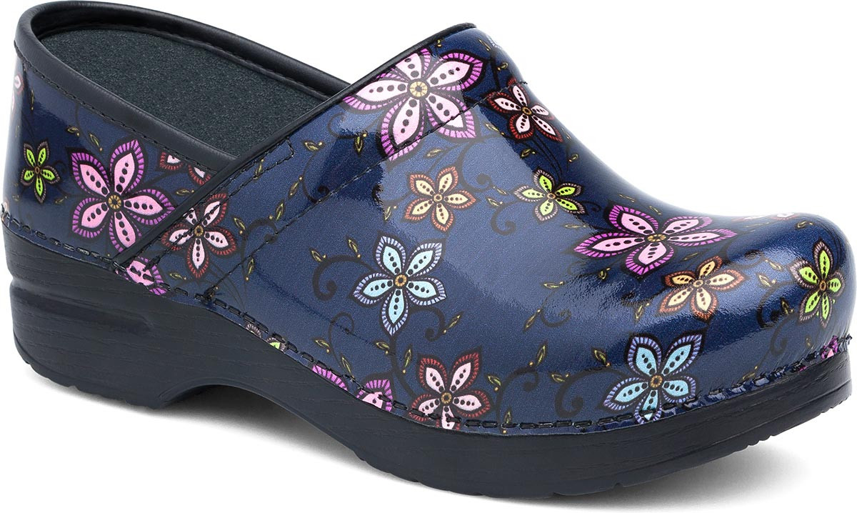 Navy Floral Patent
