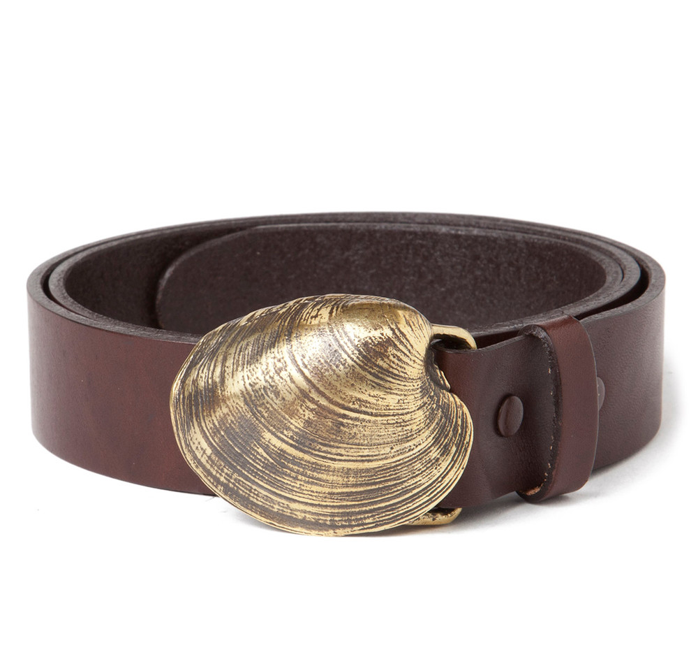 quahog shell buckle with brown leather belt sir s