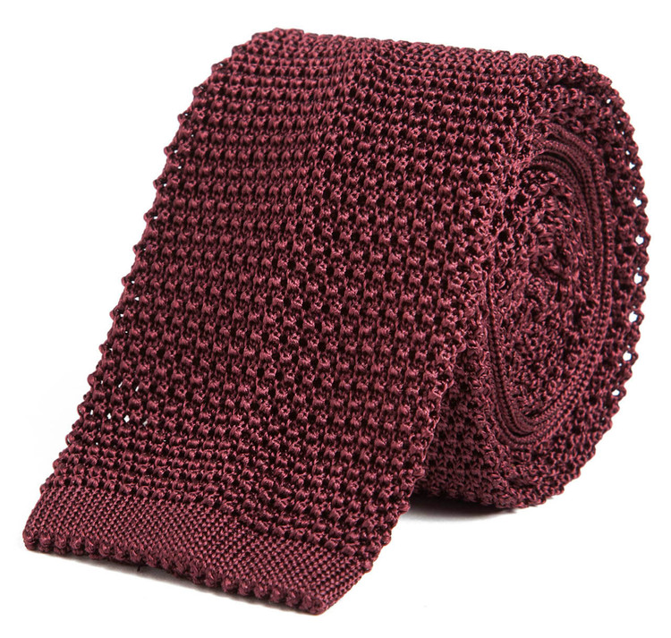 Classic Knit Silk Tie in Wine