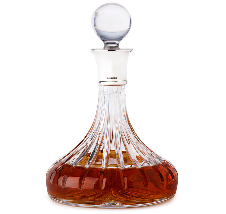 Sterling Silver & Crystal Ships Decanter
