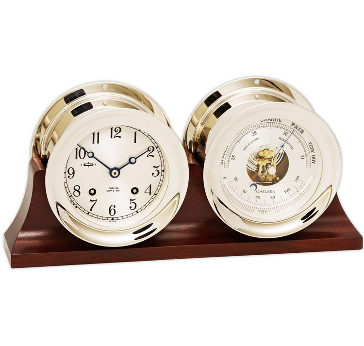 """Chelsea 4 1/2"""" Ship's Bell Clock & Barometer in Nickel on Double Base"""