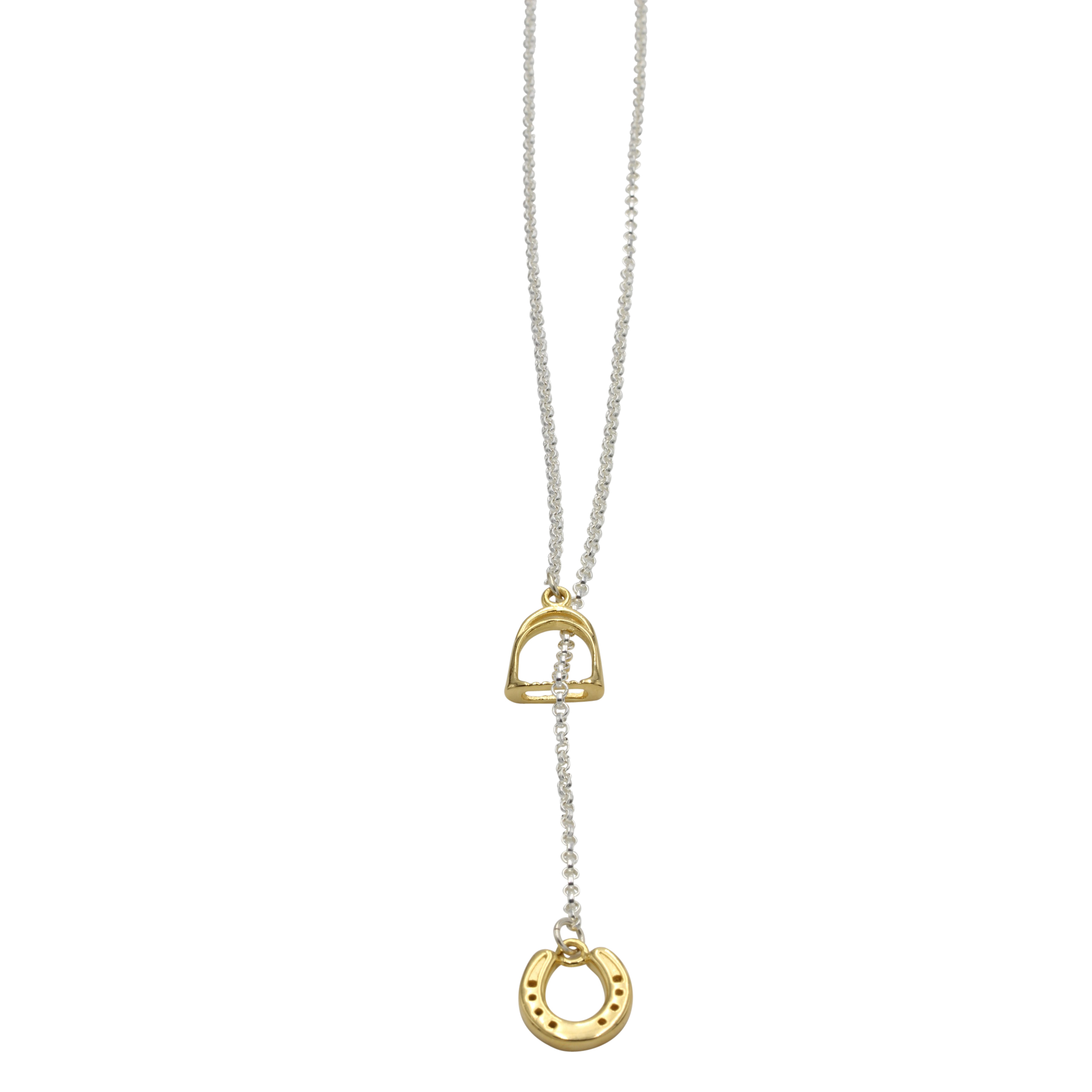 Horse shoe and Stirrup Necklace Gold silver