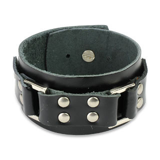 Leather Bracelet | Steel Links | Studded Buckle | Caracol Jewelry