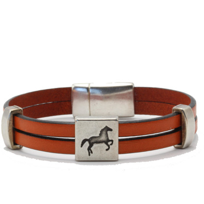 Horse on Leather Bracelet | Caracol Jewelry | Orange