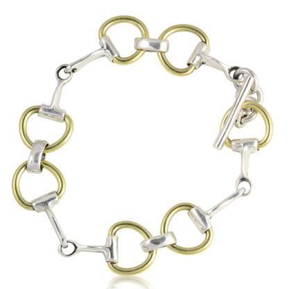 Sterling Silver | Gold Tones | Snaffle Bit | Bracelet