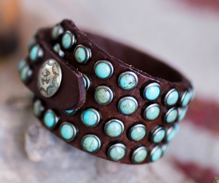 Handmade Brandy Leather Bracelet | Turquoise | Wedge