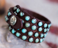 Handmade Brandy Leather Bracelet | Turquoise | Wedge