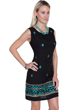 Scully Black Dress with Turquoise Embroidery