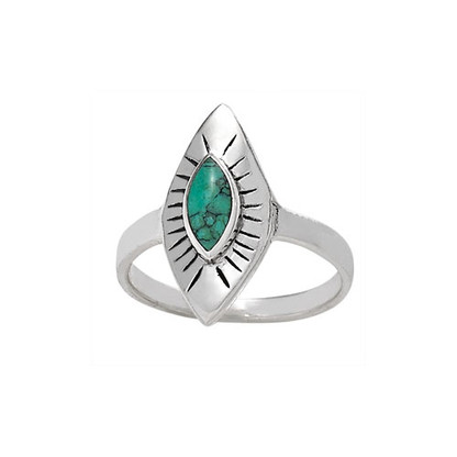Diamond Shape Rays | Turquoise Ring | Sterling Silver