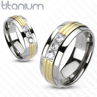 Grooved Gold IP Center Triple CZ Band Ring Solid Titanium