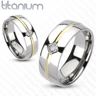 Titanium Ring | CZ | Gold IP Stripe Center