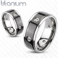 Titanium Ring | Multiple Clear CZ | Black